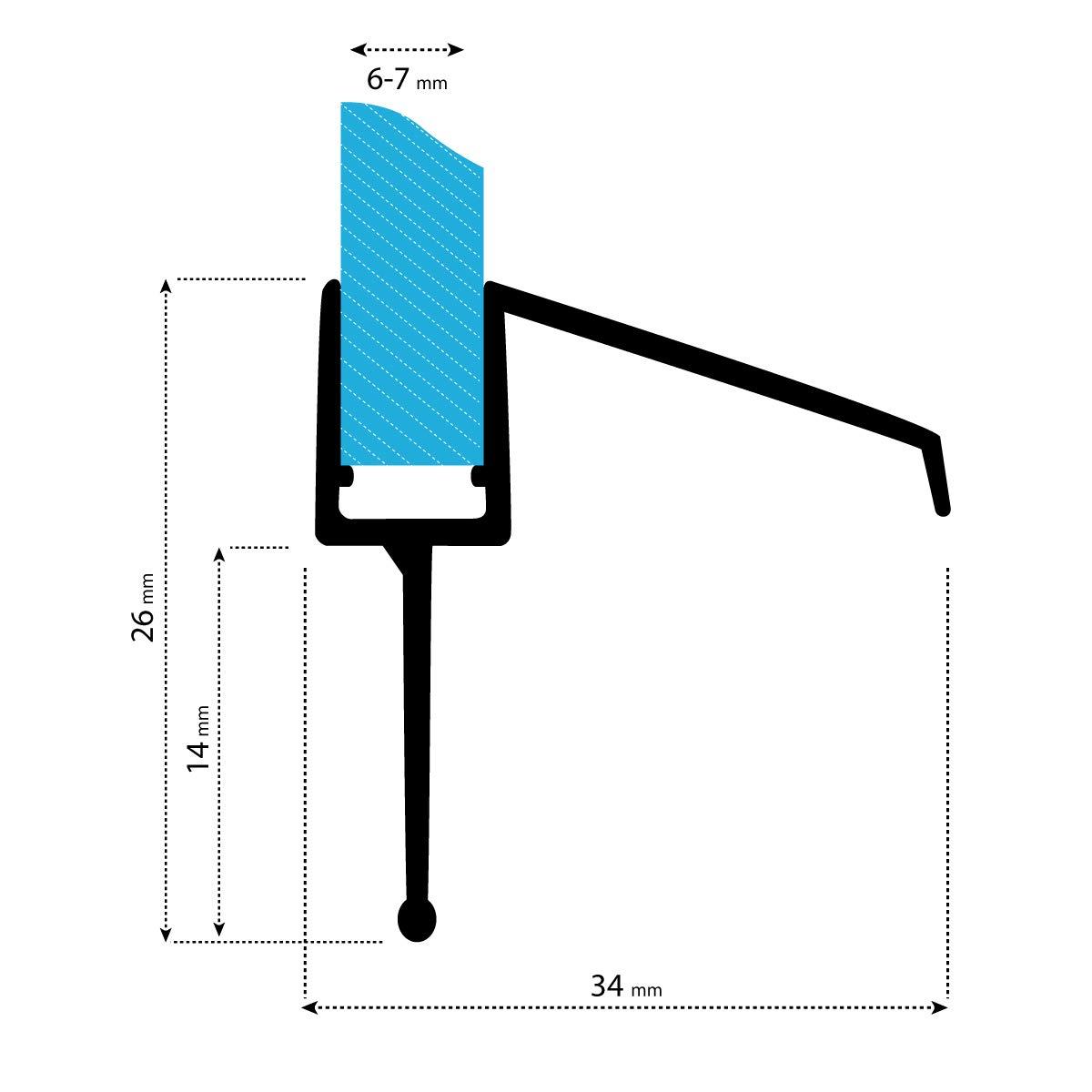 4 mm 5 mm 7 mm Guarnizione Ripara dalle Infaltrazioni dacqua STEIGNER Guarnizione di Ricambio 70 cm UK21 per Vetri di Spessore 3,5 mm 6 mm