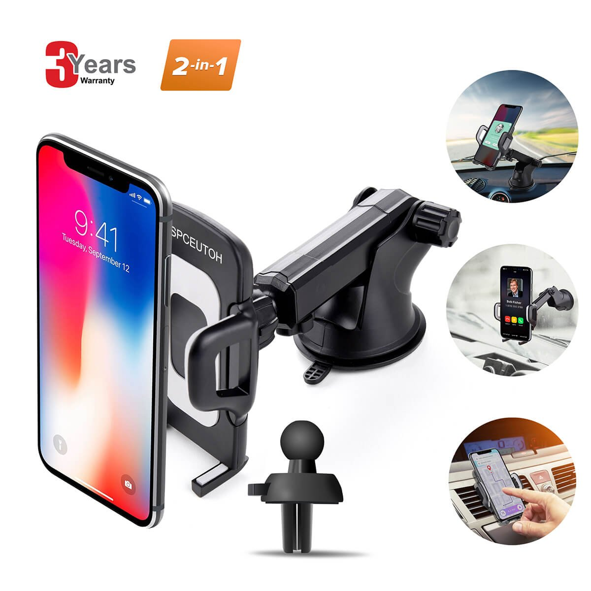 Car Phone Mount, Universal Air Vent Phone Holder for Car Cell Phone, Upgrade 360 Degrees Soft Rubber Car Phone Holder Dashboard Windshield Mount for iPhone, Galaxy, LG and More by SPCEUTOH (Black) Car Phone Mount/Phone Holder for Car