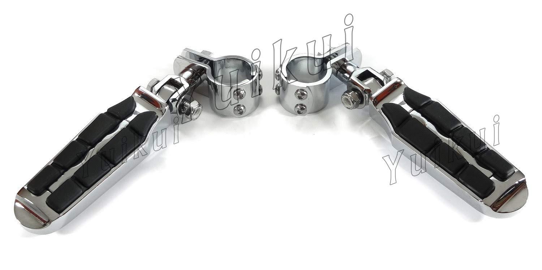 YUIKUI RACING オートバイ汎用 1-1/4インチ(32mm)/1インチ(25.4mm)エンジンガードのパイプ径に対応 ハイウェイフットペグ タンデムペグ ステップ YAMAHA V-STAR(DRAG STAR)250 All years等適用  クローム B07Q26JFP4