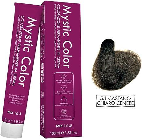 Mystic Color - Coloración Permanente en Crema con Aceite de Argán y Caléndula - Color Natural y Duradero - Tono 5.1 Castaño Ceniza Claro - 100 ml