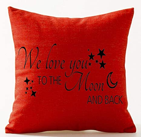 Bag hat We Love You to The Moon and Back Cotton Linen Throw ...