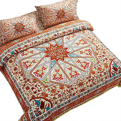 Wake In Cloud - Mandala Comforter Set, Orange Bohemian Boho Chic Medallion Pattern Printed, very soft Microfiber Bedding (3pcs, Queen Size) Black Friday & Cyber Monday 2018