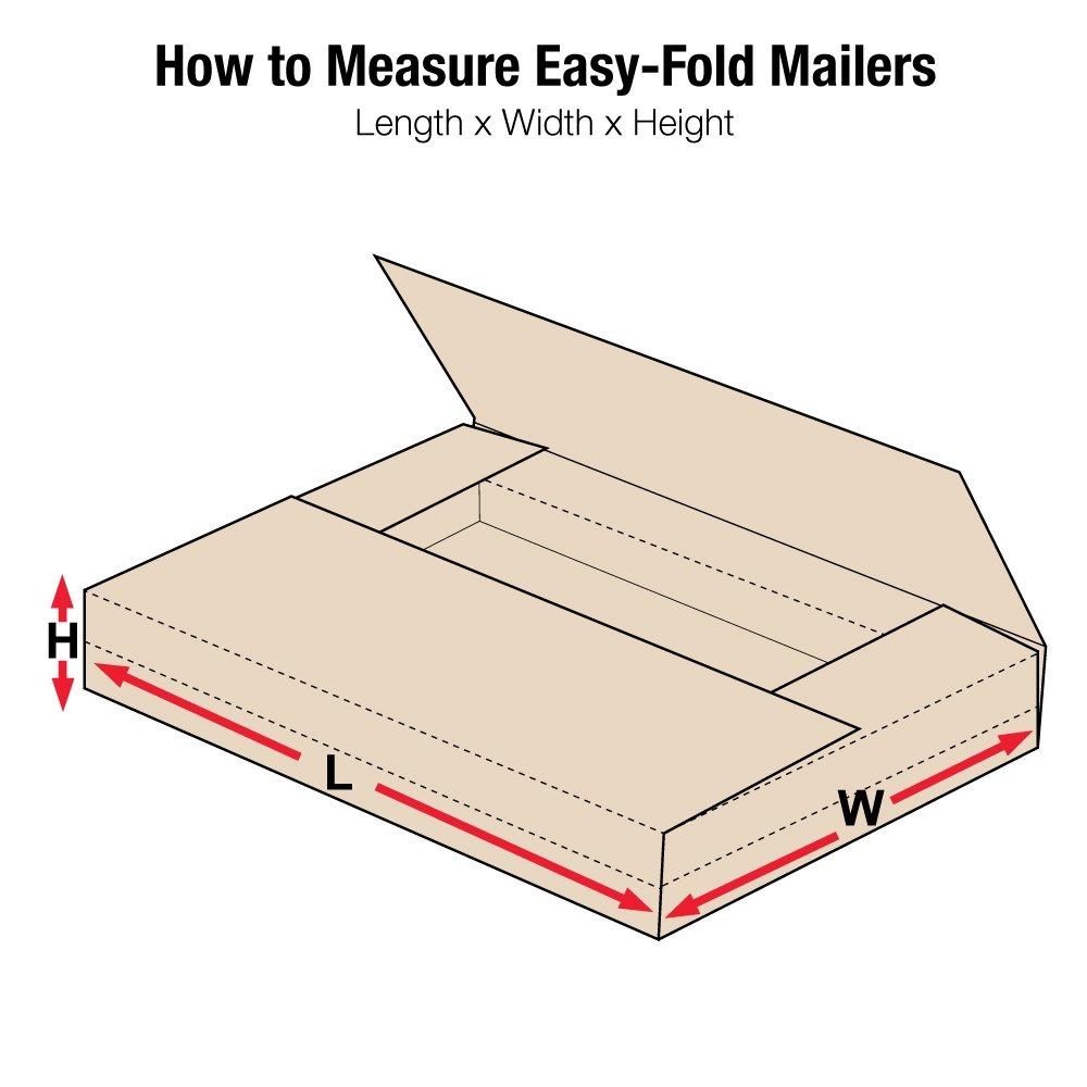 Aviditi M20162BFK Easy-Fold Mailer, 20'' Length x 16'' Width x 2'' Height, Kraft (Bundle of 50)