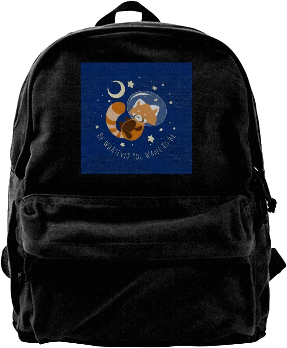 MIJUGGH Canvas Backpack Want to Be Red Panda Rucksack Gym Hiking Laptop Shoulder Bag Daypack for Men Women