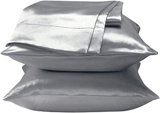 2 Piece of 350TC Solid White Soft Silk~y Satin Pillow Case Queen//Full Size