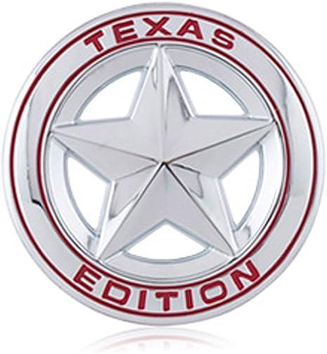 Dsycar Durchmesser 3 3d Metall Texas Edition Stern Auto Emblem Bagde Aufkleber Decals Für Universal Autos Motorrad Auto Styling Dekorative Zubehör Silber Rot Auto