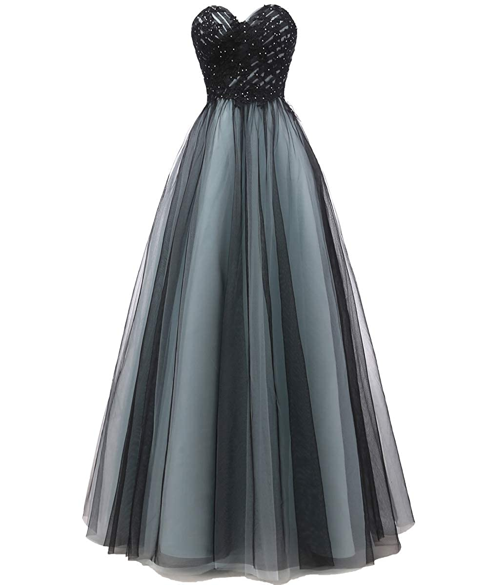 bluee and Black VKBRIDAL Women's Beaded Sweetheart Ball Gown Prom Dresses Long Black Tulle Formal Party Dress