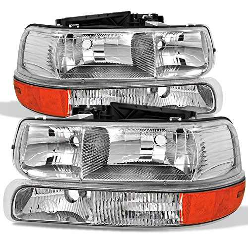 (For 00-06 Chevy Suburban | 99-02 Silverado | Tahoe Clear Headlights With Corner Bumper Lights Replacement Pair Set)