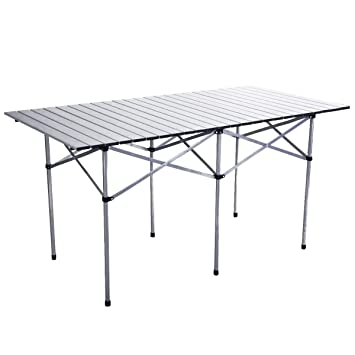Giantex Roll Up Portable Folding Camping Square Aluminum Picnic Table W/Bag  (55u0026quot;