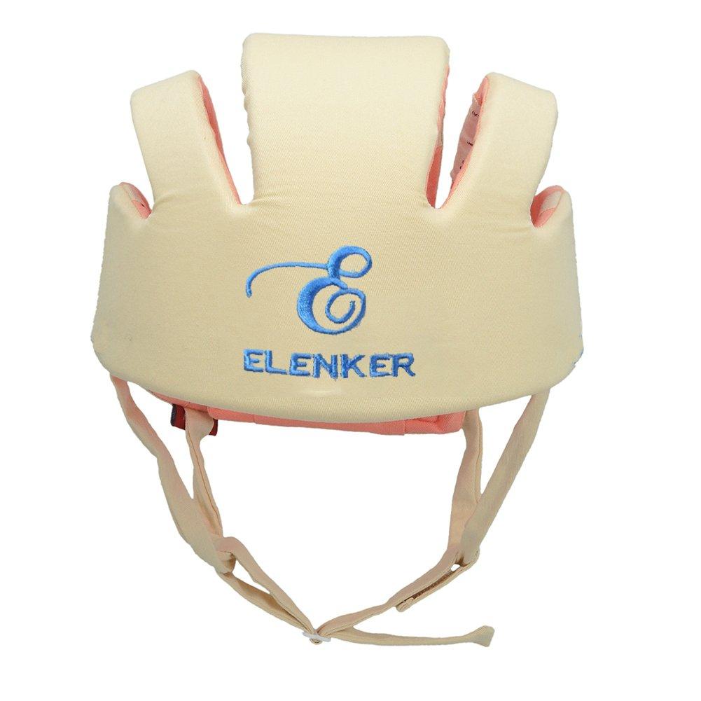 ELENKER Casco de Seguridad Protecci/ón para bebe infantile ajustable durante aprender a andar beige