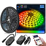 DreamColor Music LED Strip Lights Built-in Digital IC,MINGER 16.4ft Sync to Music Waterproof RGB Rope Light with APP, 12V 5050 RGB Flexible Strip Lighting for Indoor Home Kitchen Bedroom Holiday Party