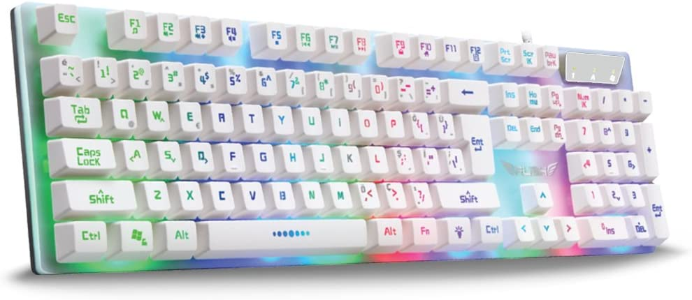 Rush RK201 Pure White Mechanical Feeling Gaming Keyboard with Powerful Rainbow Backlight Double Injection Led Letter Illuminated for Gamer