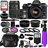 Canon EOS M5 Mirrorless Digital Camera (Black) Bundle w/Canon EF-M 15-45mm IS STM & Tamron 70-300mm Di LD Lenses + Auto (EF/EF-S to EF-M) Mount Adapter + Gadget Bag + Accessories