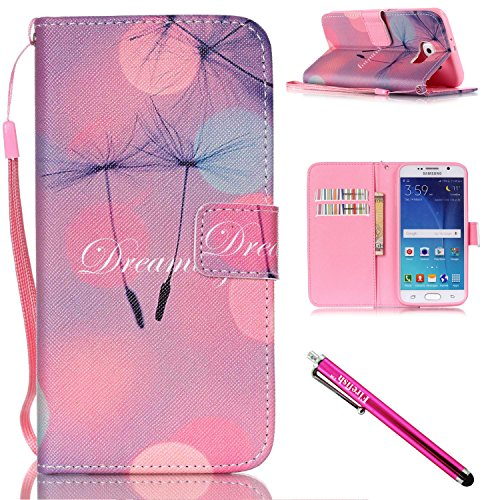 Price comparison product image Galaxy S6 Case,  Galaxy S6 Wallet Case,  Firefish [Kickstand] Design [Card / Cash Slots] Premium PU Leather Wallet Flip Cover with Wrist Strap for Samsung Galaxy S6-B-Dandelion