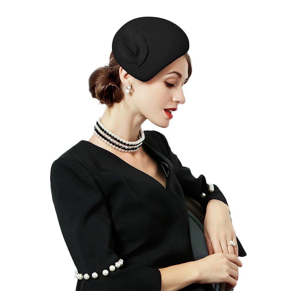 F FADVES Flower Womens Dress Fascinator Wool Felt Fedora French Pillbox Hat Party Wedding Black