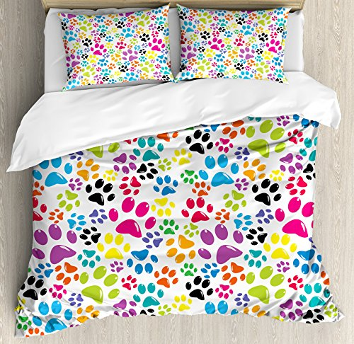 Ambesonne Dog Duvet Cover Set King Size, Colorful Little Paw