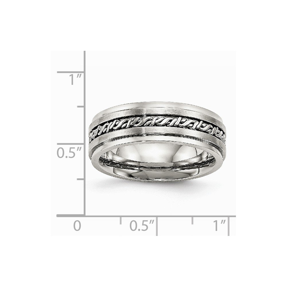 Stainless Steel Wedding Band Ring Polished Brushed 7 mm Brushed Braided 7.00mm Band