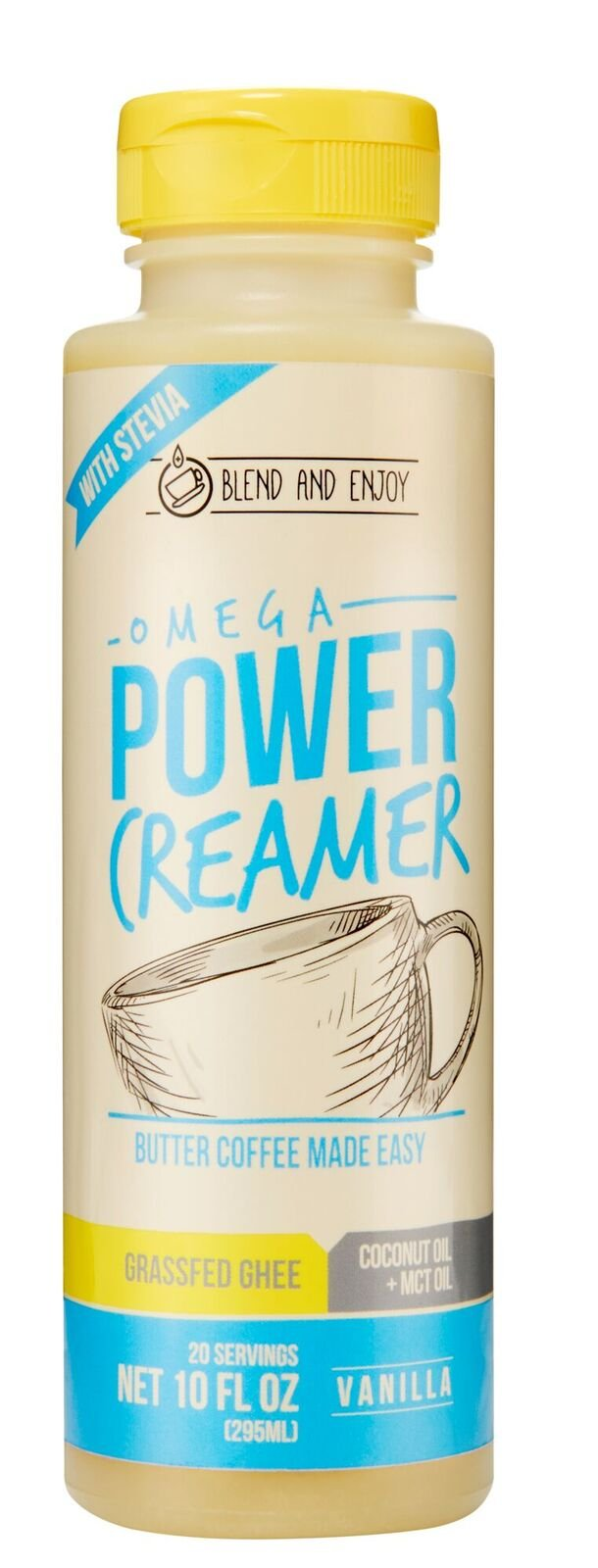 Omega PowerCreamer - VANILLA - Made with Grass-fed Organic Ghee, Organic Coconut Oil, MCT Oil from 100% C8/C10 | Premium Butter Coffee Blend | keto, paleo 10 fl oz (20 servings)
