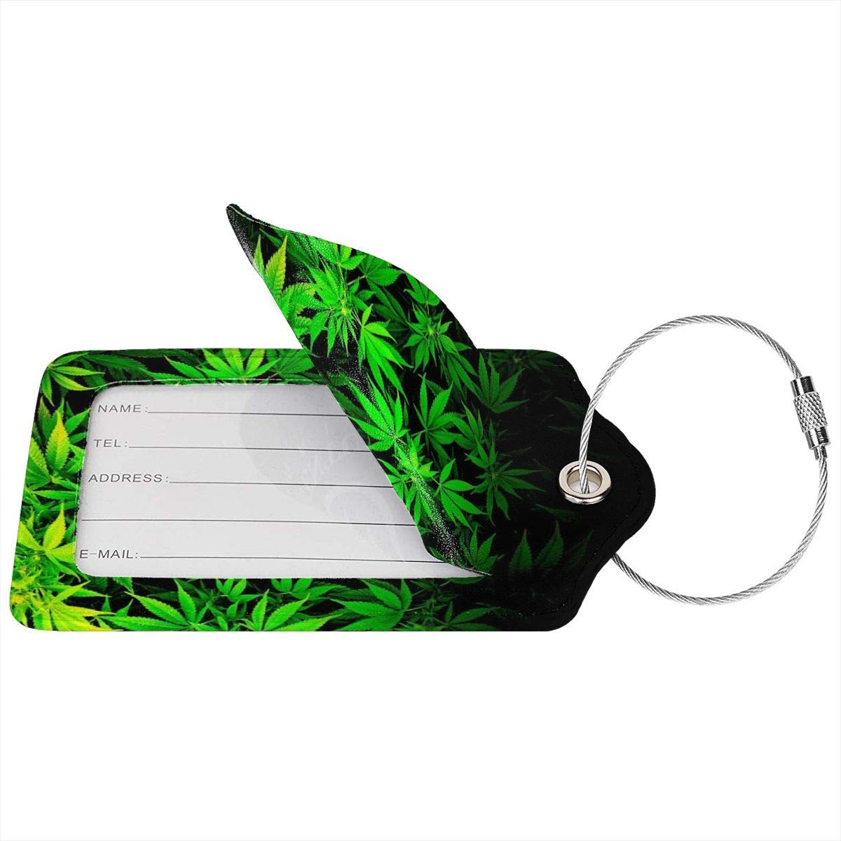 Cool Green Amazing Weed Leaves Luggage Tag Label Travel Bag Label With Privacy Cover Luggage Tag Leather Personalized Suitcase Tag Travel Accessories