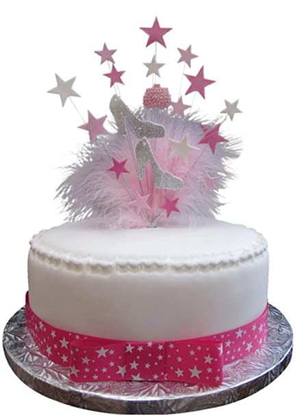Glittered Handbag Shoes Birthday Cake Topper Silver And Pale Pink With Marabou Feathers PLUS 1