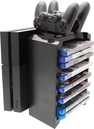 2 In 1 Games Storage Tower And Twin Charging Dock Ps4 Amazon Co Uk Pc Video Games