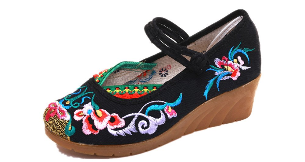 Tianrui Crown Women and Ladies The Embroidered Sandals Cheongsam Platform Wedge Shoes B07BKSGQLL 6 B(M) US|Black