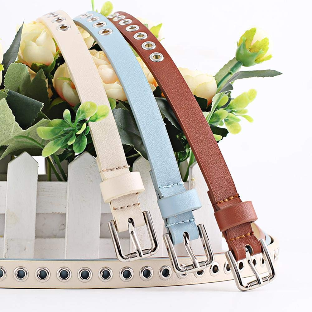 Cintura vintage con borchie in pelle per donna Rivet Belt Trendy Bianco cintura in pelle sintetica cintura decorativa fascia sottile