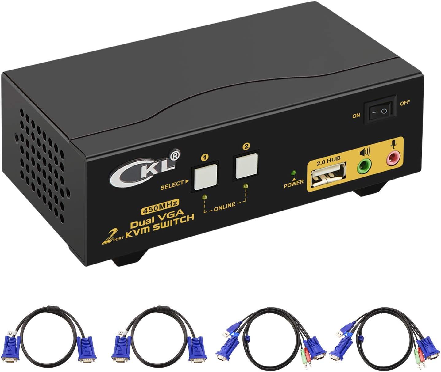 CKL VGA KVM Switch 2 Port Dual Monitor Extended Display (CKL-822UA)