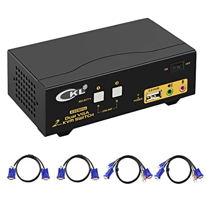 VGA KVM Switch 2 Port Dual Monitor Extended Display CKL USB