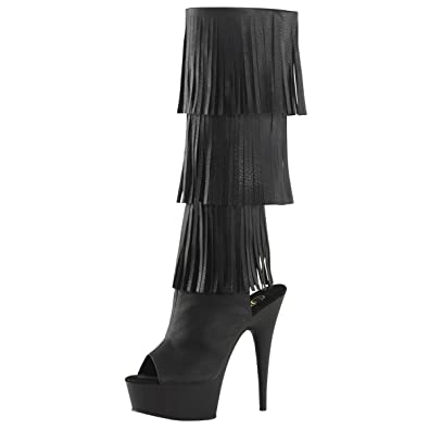 Amazon.com | Womens Knee High Fringe Boots Open Toe Shoes Black ...