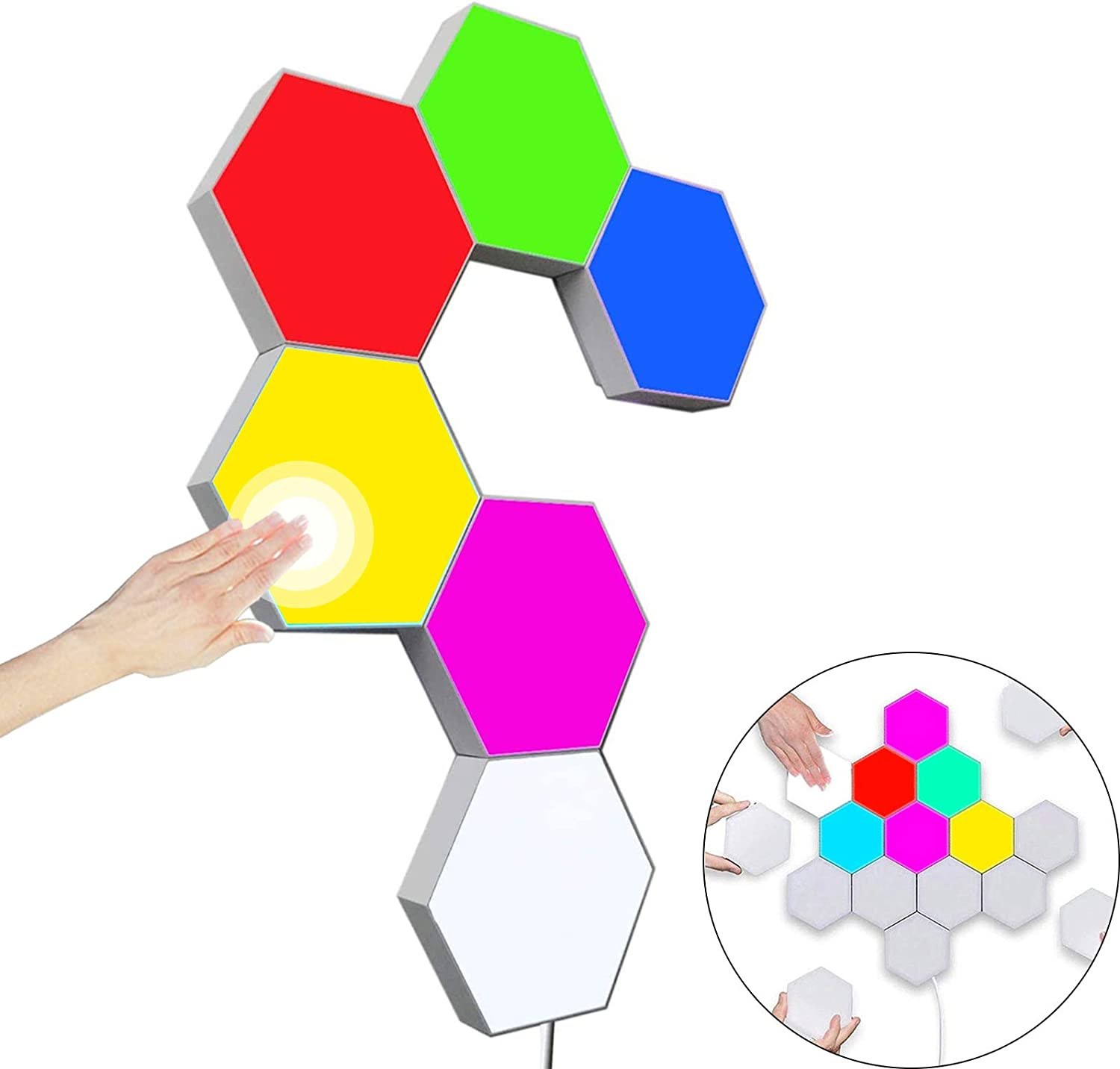 Hexagon Wall Light Multicolor,Smart Modular Touch-Sensitive LED Light Wall Panels RGB Night Light DIY Geometry Splicing Hex Light for Bedroom Living Room Hallway Party Decor,6 Pack