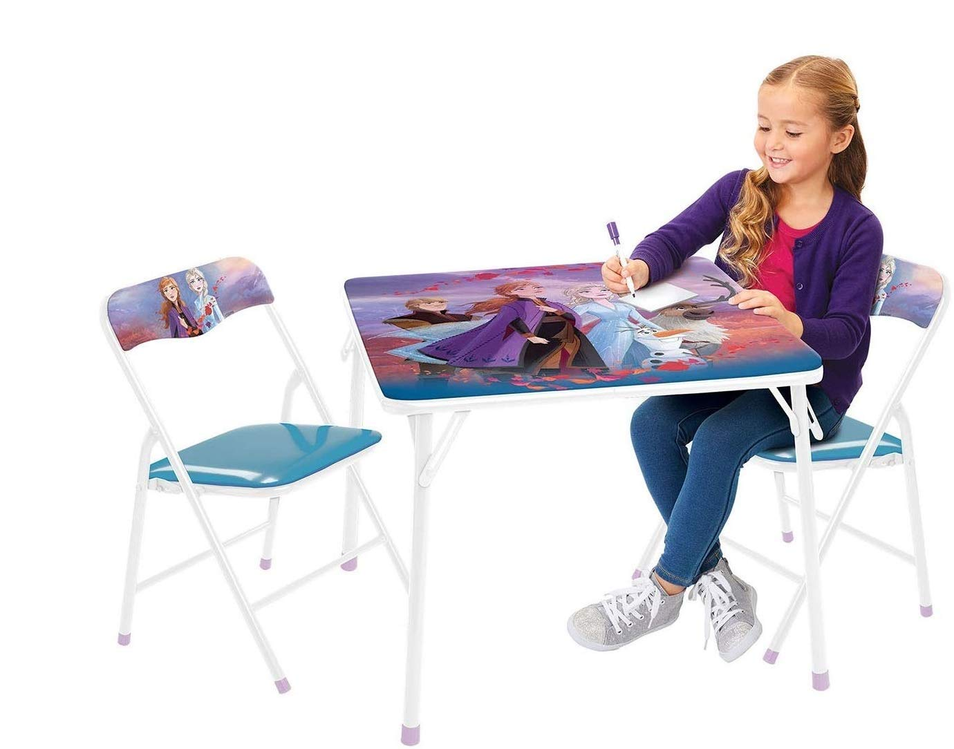 Frozen 2 Table & Chair Set, Folding Table & 2 Folding Padded Chairs by Frozen 2