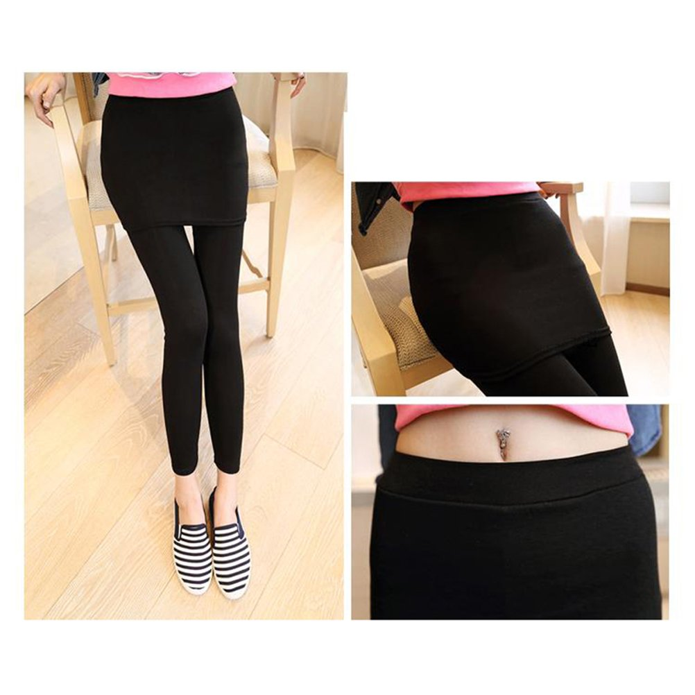 OULII Rock mit Hose 2 in 1 Leggings f/ür Sport Tennis Yoga Jogging Schwarz