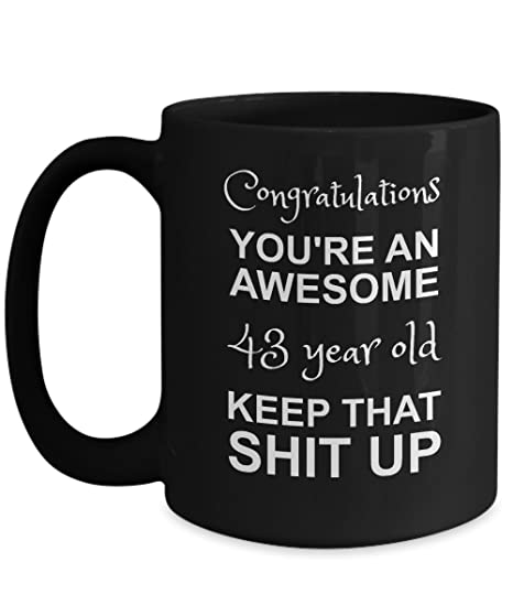 Amazon 43rd Birthday Black Mug