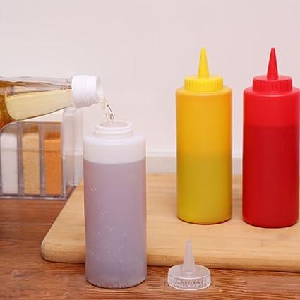 botellas de plástico de la salsa botella de la salsa apriete ollas apretar el bote de