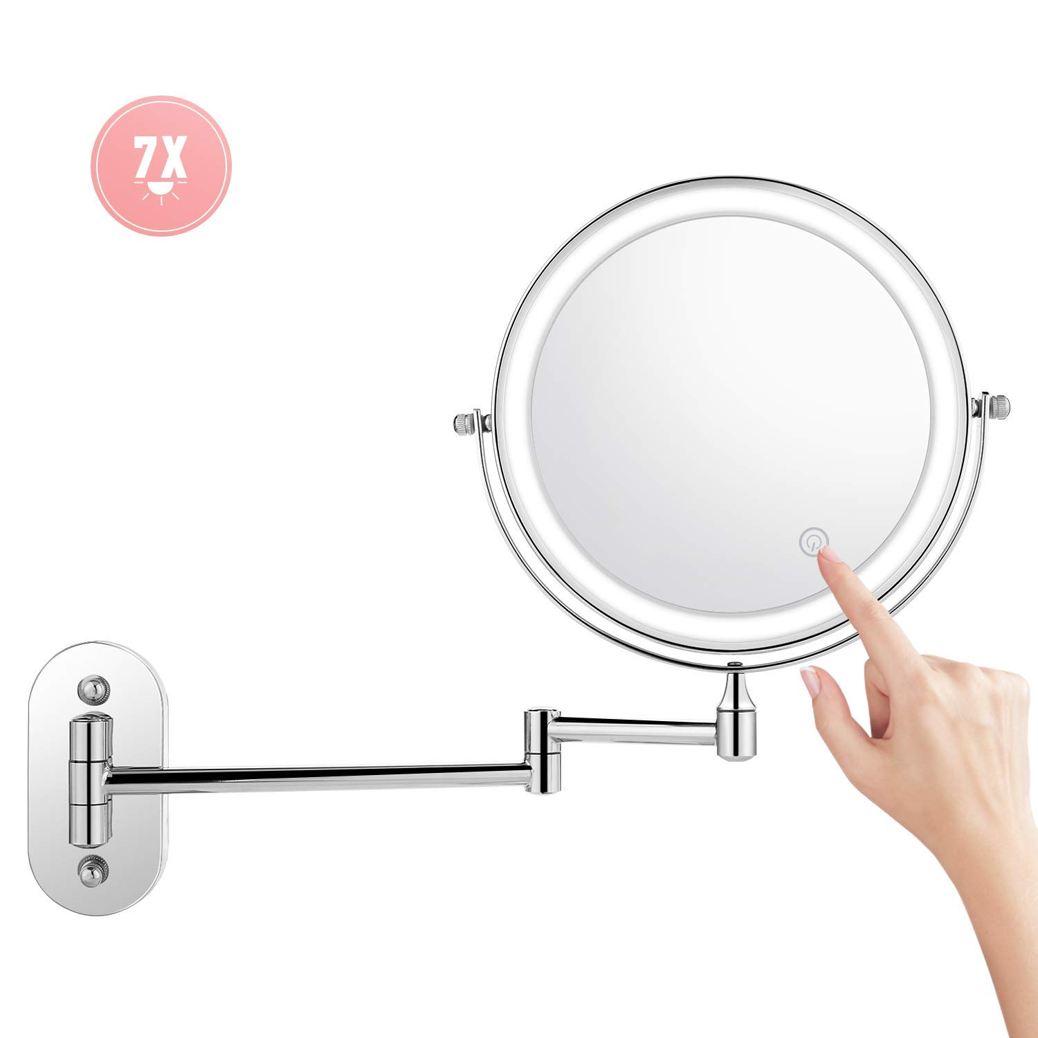 Himimi 7X Wall Mounted Makeup Mirror, Double Sided Swivel Vanity Mirror, Touch Button Adjustable Light, Stainless Steel, Shaving in Bedroom or Bathroom, 8 inch, 4 x AAA Batteries (not Included) by Himimi