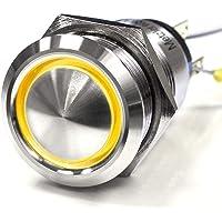 Välvd – tryckströmbrytare – diameter Ø 19 mm – av V2A rostfritt stål – damm- och vattentät enligt IP67 skyddsstandard AC…