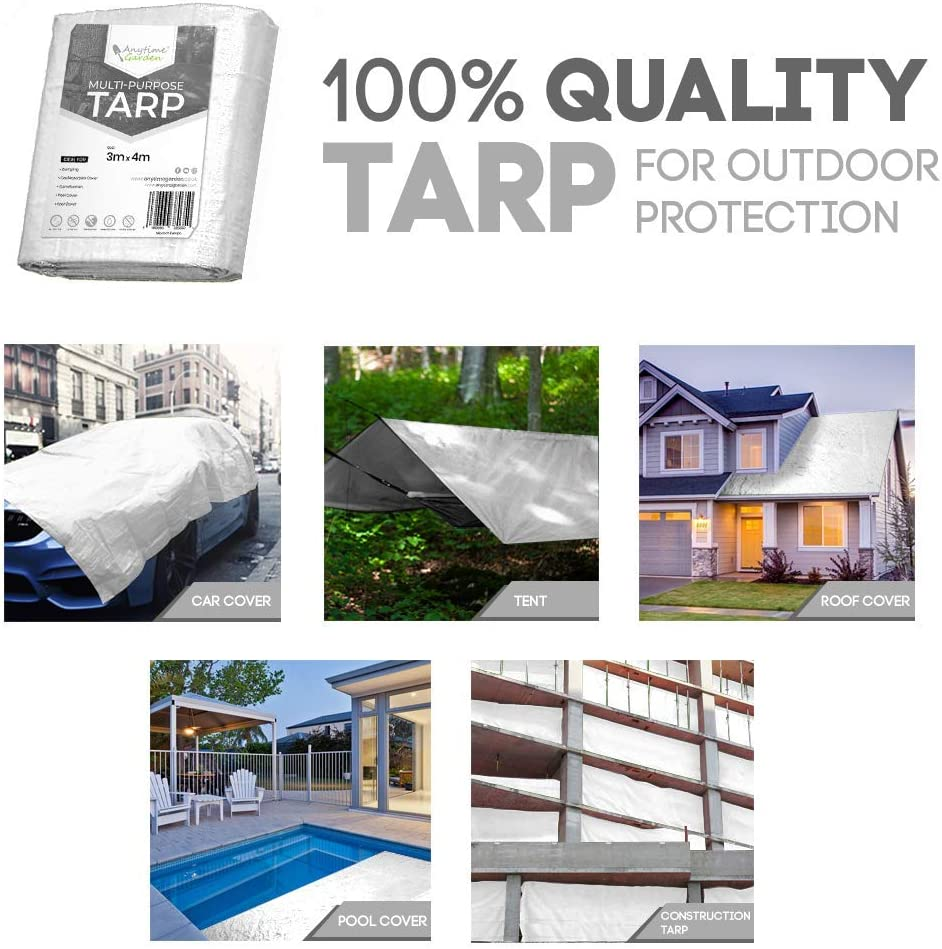 6.5 FT x 9.8 FT // 2M x 3M 100G // Metre Squared Camping Heavy Duty Tarp White Durable Tarpaulin Waterproof with Eyelets for Covering Garden Furniture Roof Cover and Much More