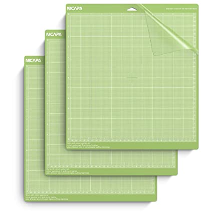 Nicapa Cutting Mat for Cricut Explore One/Air/Air 2/Maker  [Standardgrip,12x12 inch,3pack] Adhesive&Sticky Non-Slip Flexible Gridded  Vinyl Green Cut
