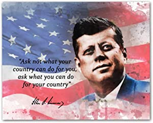 "John F Kennedy Quotes Wall Art, 8""x10"" Unframed Art Print - Stunning Inspirational Quotes Room Wall Décor. Great for Teachers, Librarians and Historians"