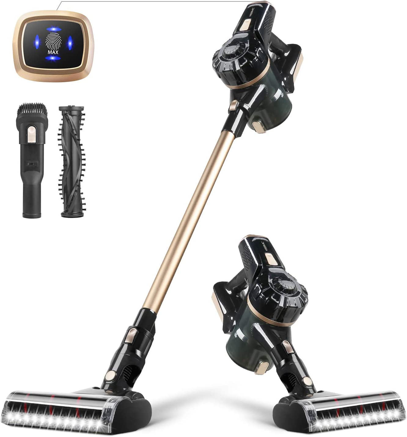 YISSVIC Cordless Vacuum 4 in 1 Stick Handheld Vacuum Cleaner 10Kpa Powerful Suction 2 Speed Control HEPA Filter Vacuum for Home Hard Floor Carpet Car Pet,Lightweight, BVC-S107