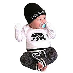 Cute Newborn Baby Boys Clothes, 3Pcs ''Little Man'' Print Long Sleeve Romper Pants Hat Outfits Set