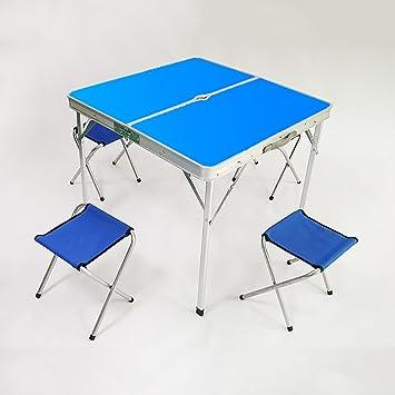 YXX- Mesa y sillas Plegables al Aire Libre para Acampar con ...