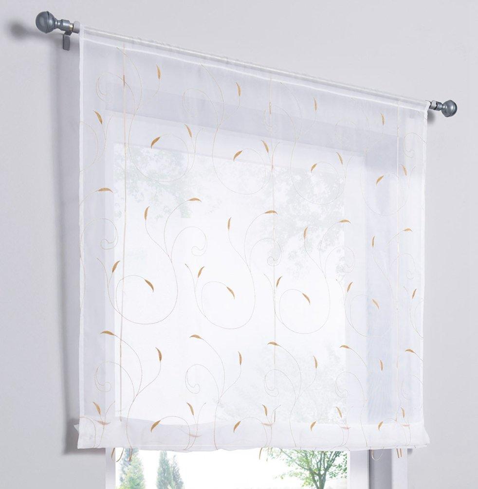 ZebraSmile Lifable Curtain Cute Tie Up Roman Curtain Rod Pocket Semi Sheer Kitchen Roman Window Curtain, 24 x 47 Inch, Sand