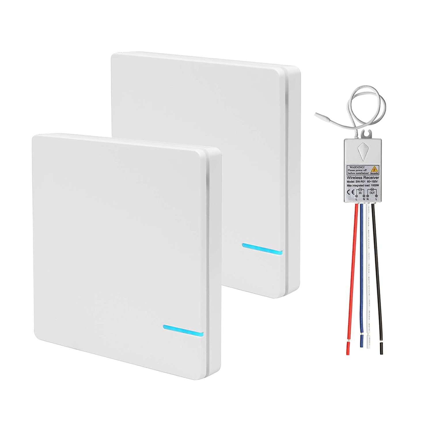 Indoor 131 ft eoere No Wiring Outdoor 1968 ft Double Wireless Light Switch One Receiver Kit for Lamps Ceiling Fans Appliances Night Light Indicator