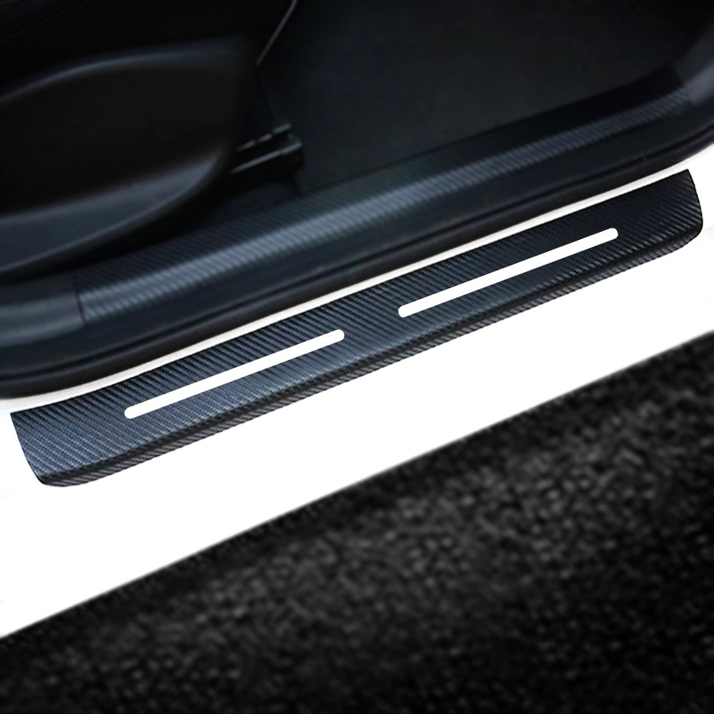 4Pcs for Hyundai Kona 2018 Car Door Sill Door Entry Guard Car Door Entry Protectors 4D Carbon Fiber Vinyl Sticker Auto Accessories Car-Styling SLONG