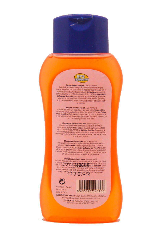 BPS R Champú Desodorante Shampoo para Gato Animales Domésticos Seguro y Natural Diseño para Eliminar Olor 250 ml BPS-4110: Amazon.es: Hogar