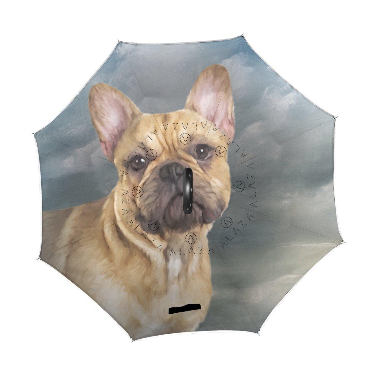 MyDaily Paraguas invertido de Doble Capa para Coches, Paraguas invertido, Paraguas Francés Bulldog Resistente al Viento, Resistente a los Rayos UV, ...