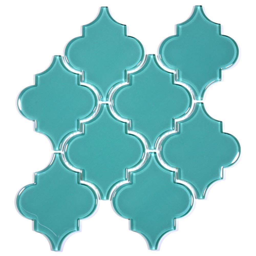 Giorbello G9131-11 Glass Arabesque Tile, Teal well-wreapped