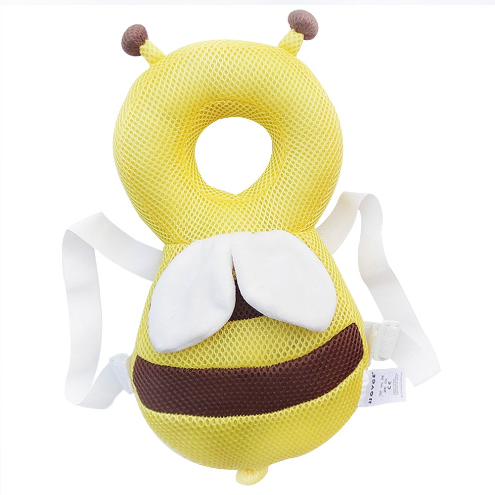 Echo Paths Ajustable Head and Shoulder Protector,Safy Infant Pad,Head Cushion with Flexible Strap for Baby's Safty 4-24 Month Yellow Bee-Summer